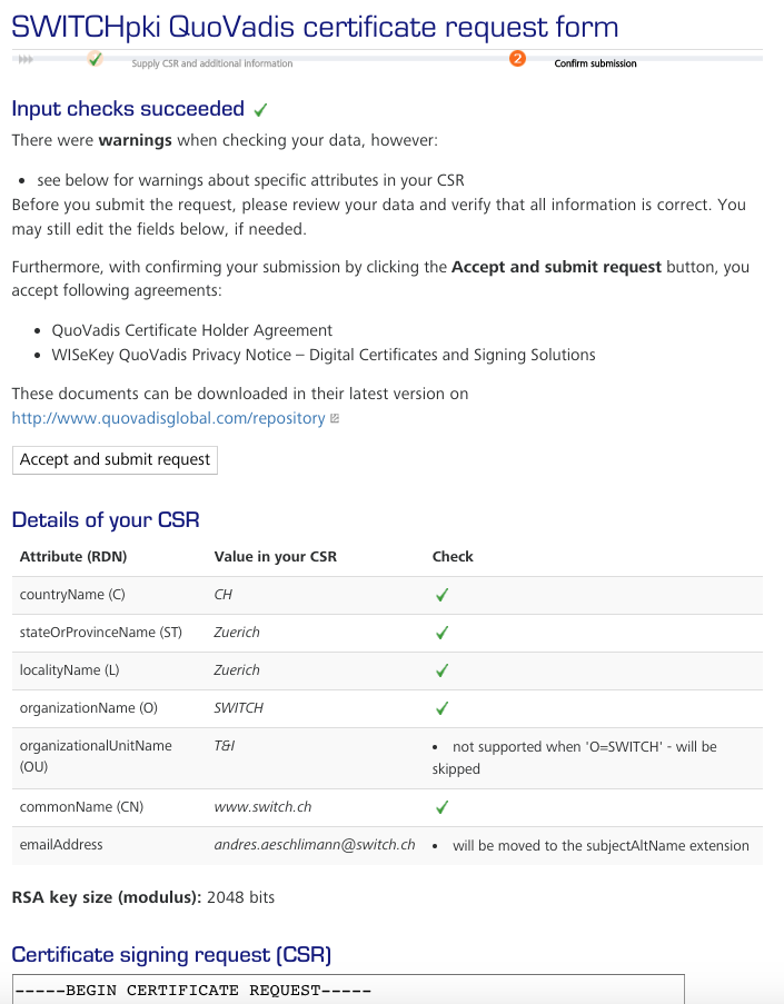 Server certificate - Request - Certificate Management