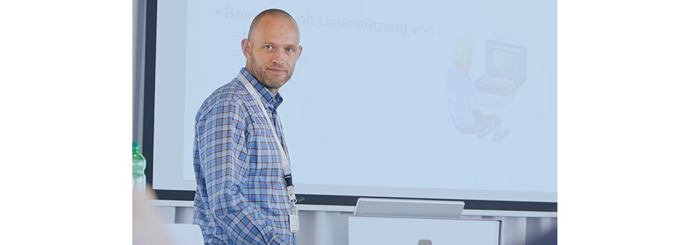 SWITCH-CERT employee Michael Hausding at the malware event in the Kongresshaus Zurich.