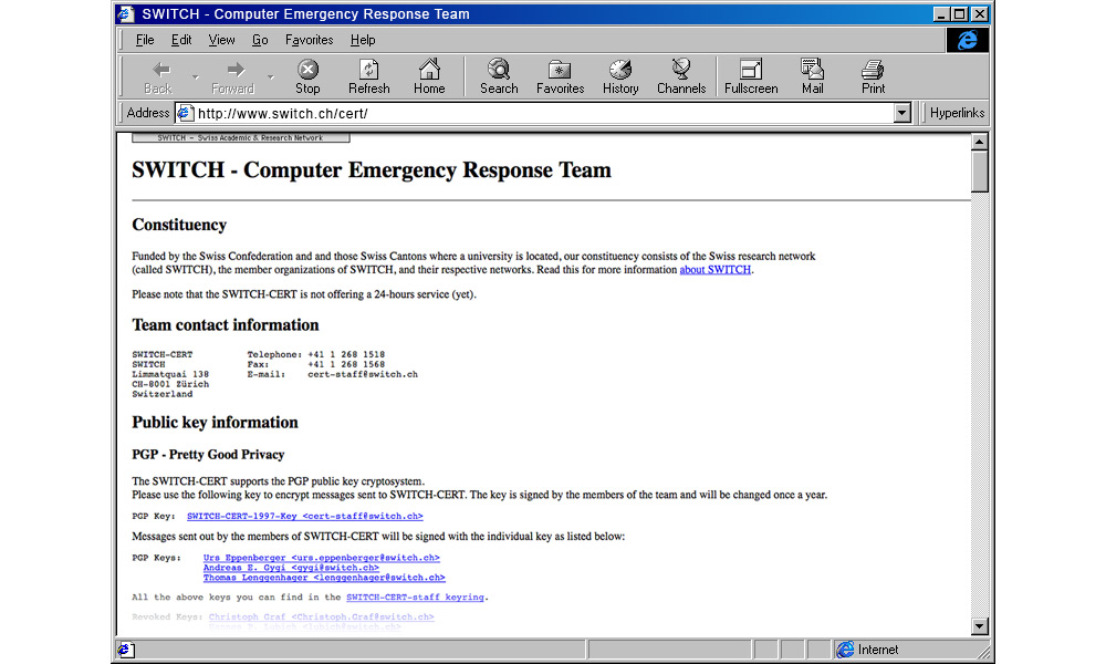 This is how the CERT presented itself on SWITCH's website. (Screenshot 1997).