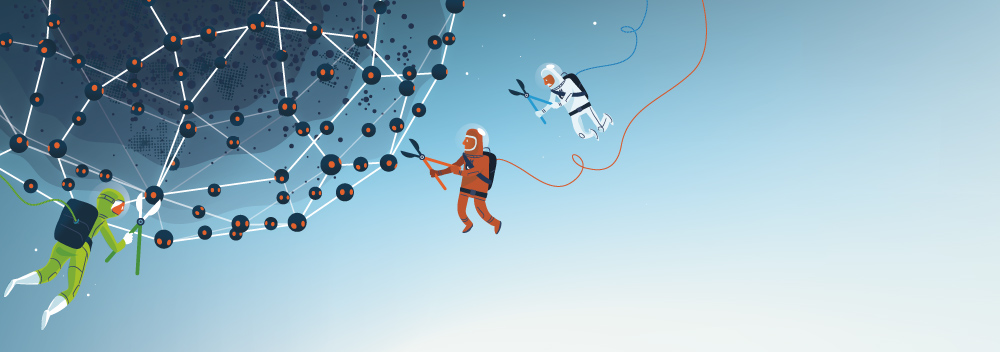 Illustration from an article on the ZeroAccess botnet takedown. (Illustration: Christoph Frei)