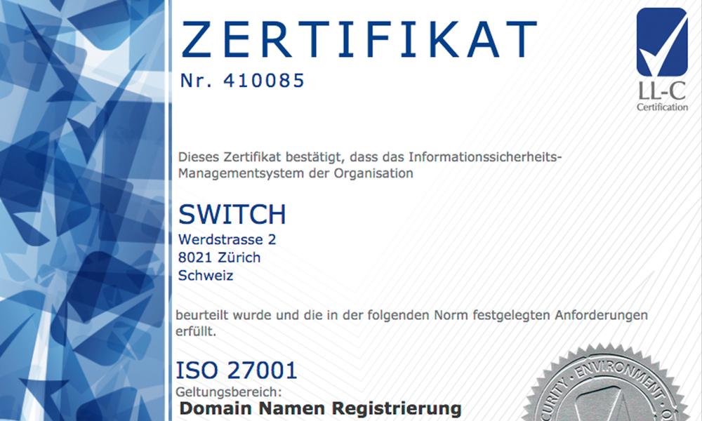 Registry recertification - SWITCH